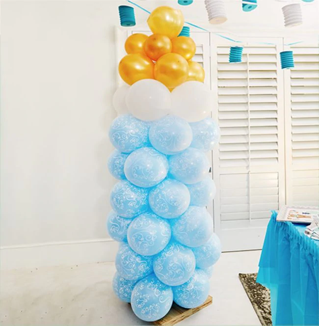 DIY Bottle Balloon Tower Baby Shower How To in 2020