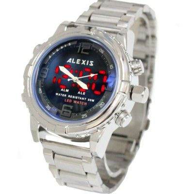 AW801K PNP Shiny Silver Watchcase LED BackLight Water Resist Mens Anadigit Watch