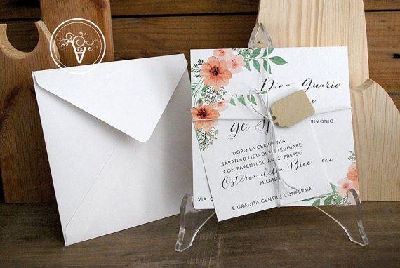 Partecipazioni Matrimonio 500.Partecipazione Nozze Stile Floreale Shabby Shic Composto Da 1