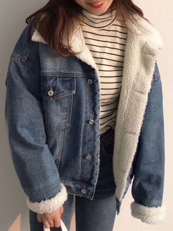 Veste en denim doublé mouton manche longues décontracté femme jean jacket bleu foncé #jeanjacketoutfits