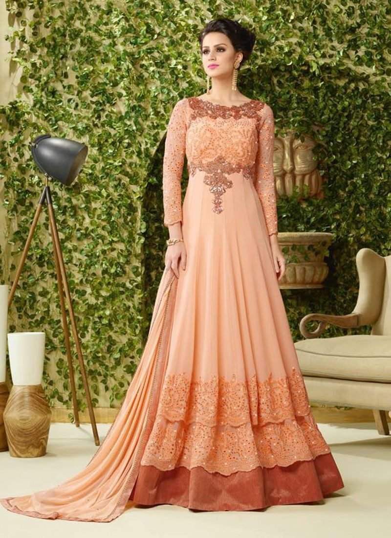 Peach georgette party wear gown indian wear pinterest ethnic