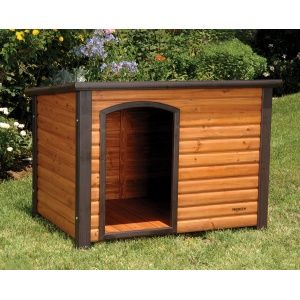 The Precision Outback Log Cabin Dog House features solid wood const...