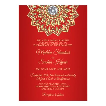 Ruby Red Mandala Gold Indian Wedding Invitations Traditional