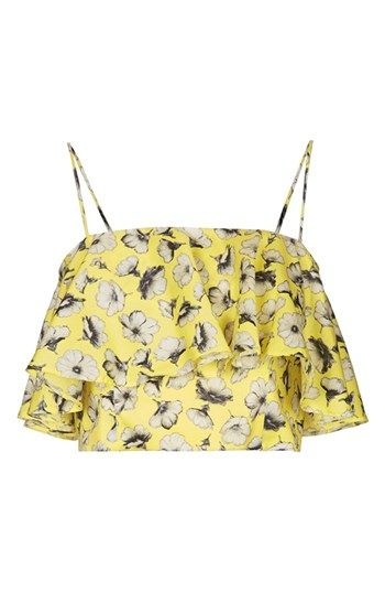 topshop floral ruffle crop
