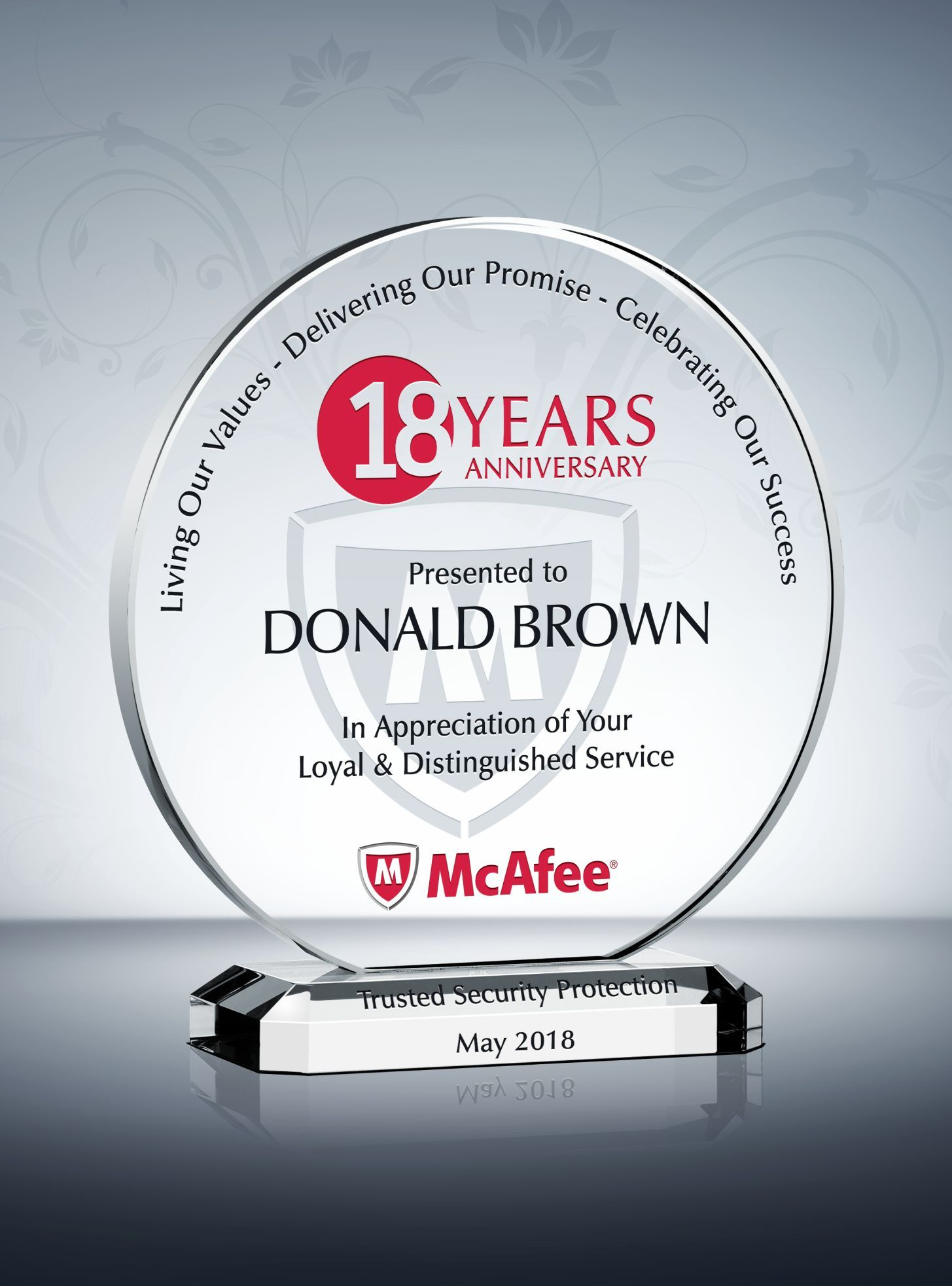 The Circle Years Of Service Award Plaque Is Characterized By The Refined Flowing Lines In The Middle This Years Of Service Award Sample Is Designed To Ho Pha Le