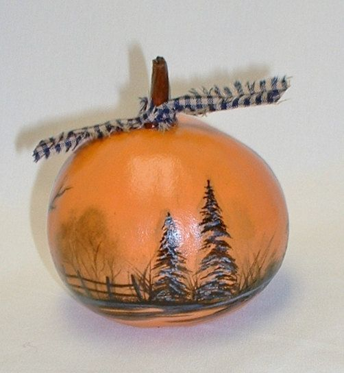 Mini Gourd Halloween Jack-O-Lantern Hand by FromGramsHouse