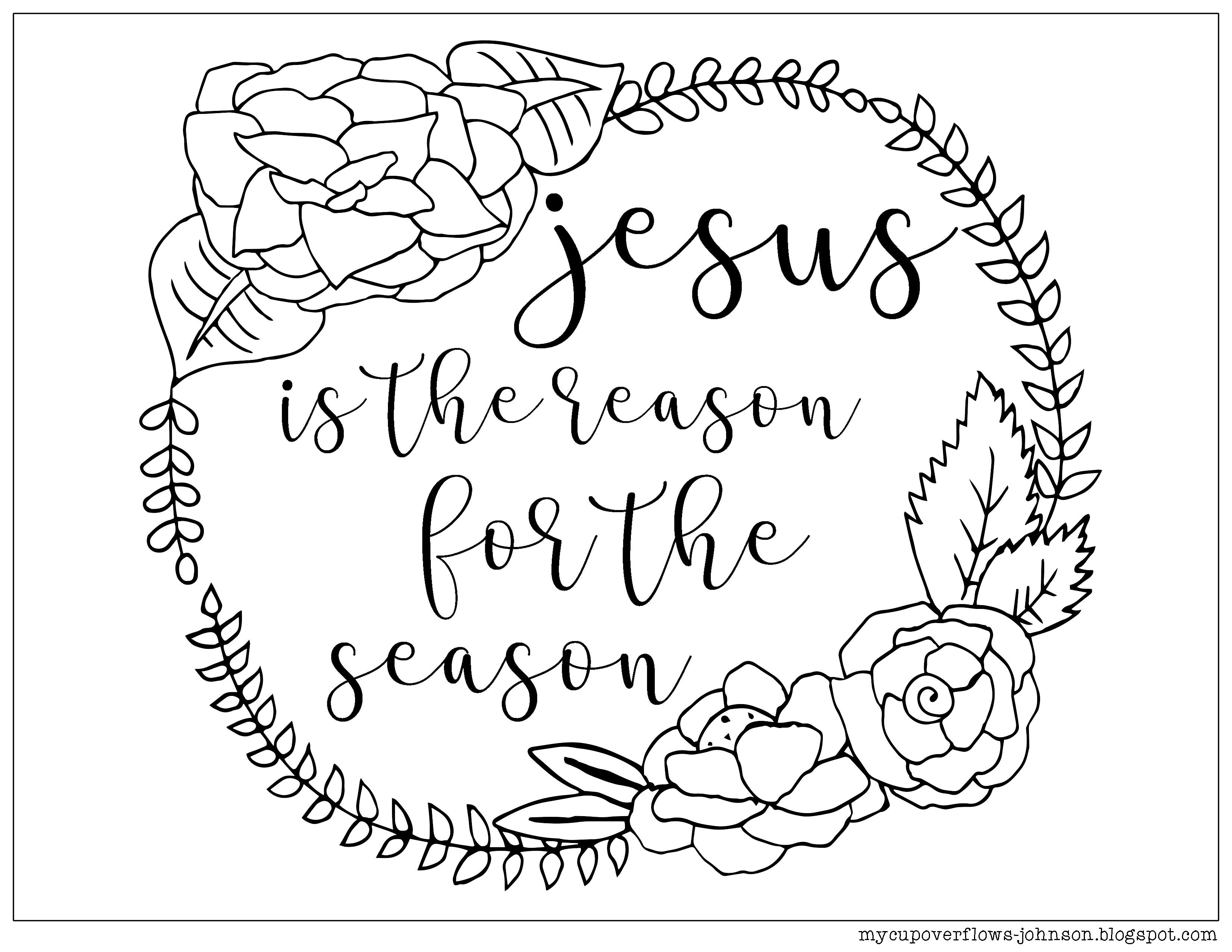 Jesus is the reason for the season coloring page of Christmas wreath ...