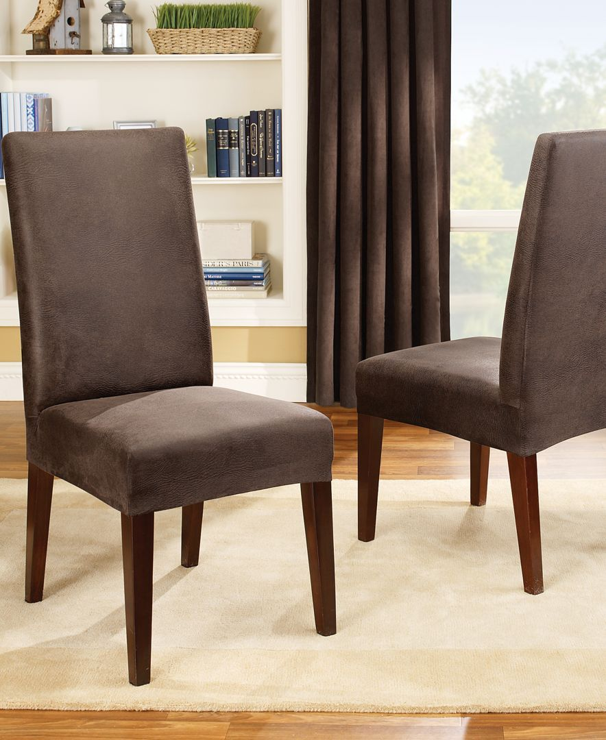 Sure Fit Stretch Leather Short Dining Chair Slipcover  Furniture Prepossessing Stretch Covers For Dining Room Chairs Decorating Design