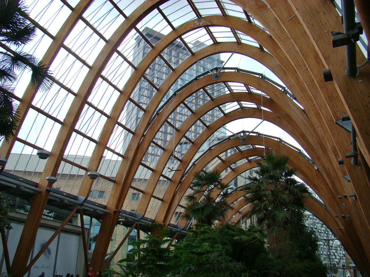 curved timber structures azure garden centre hanging gardens