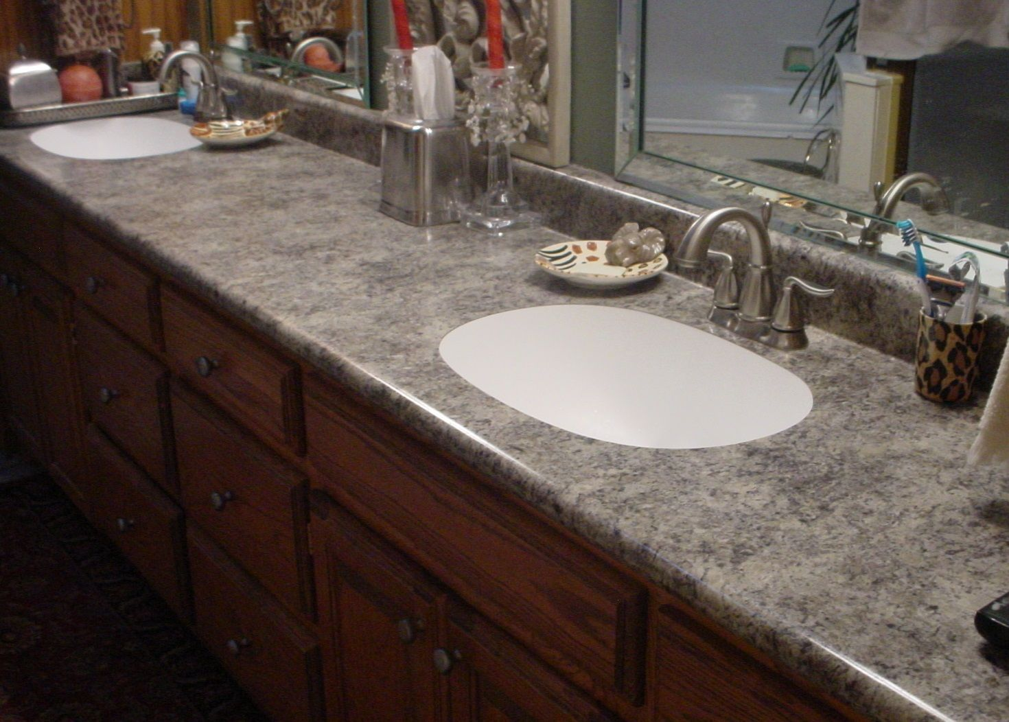 Custom Laminate Bathroom Countertop With Undermount Sinks
