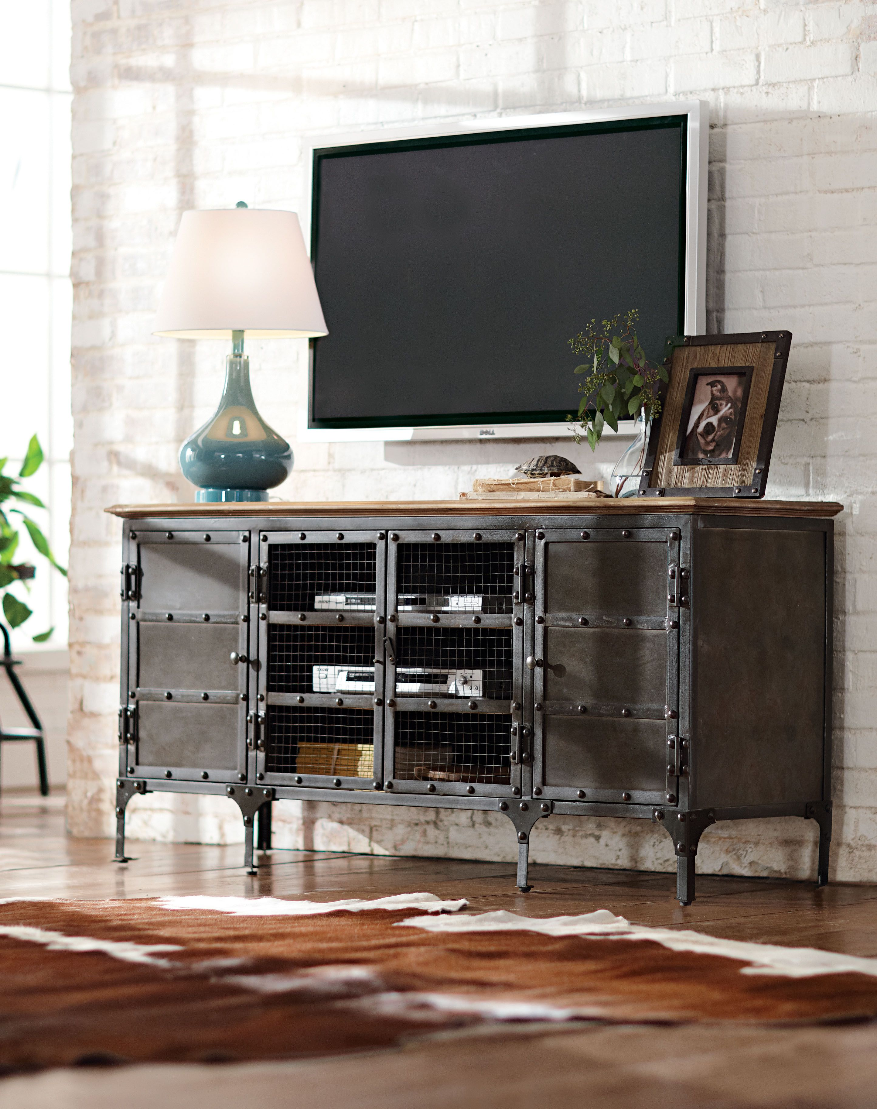 Tv Stand Made Stylish It 39 S The Perfect Complement To An Industrial Living Room And Makes The Tv