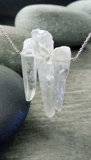 Raw Crystal Pendant, Quartz Necklace