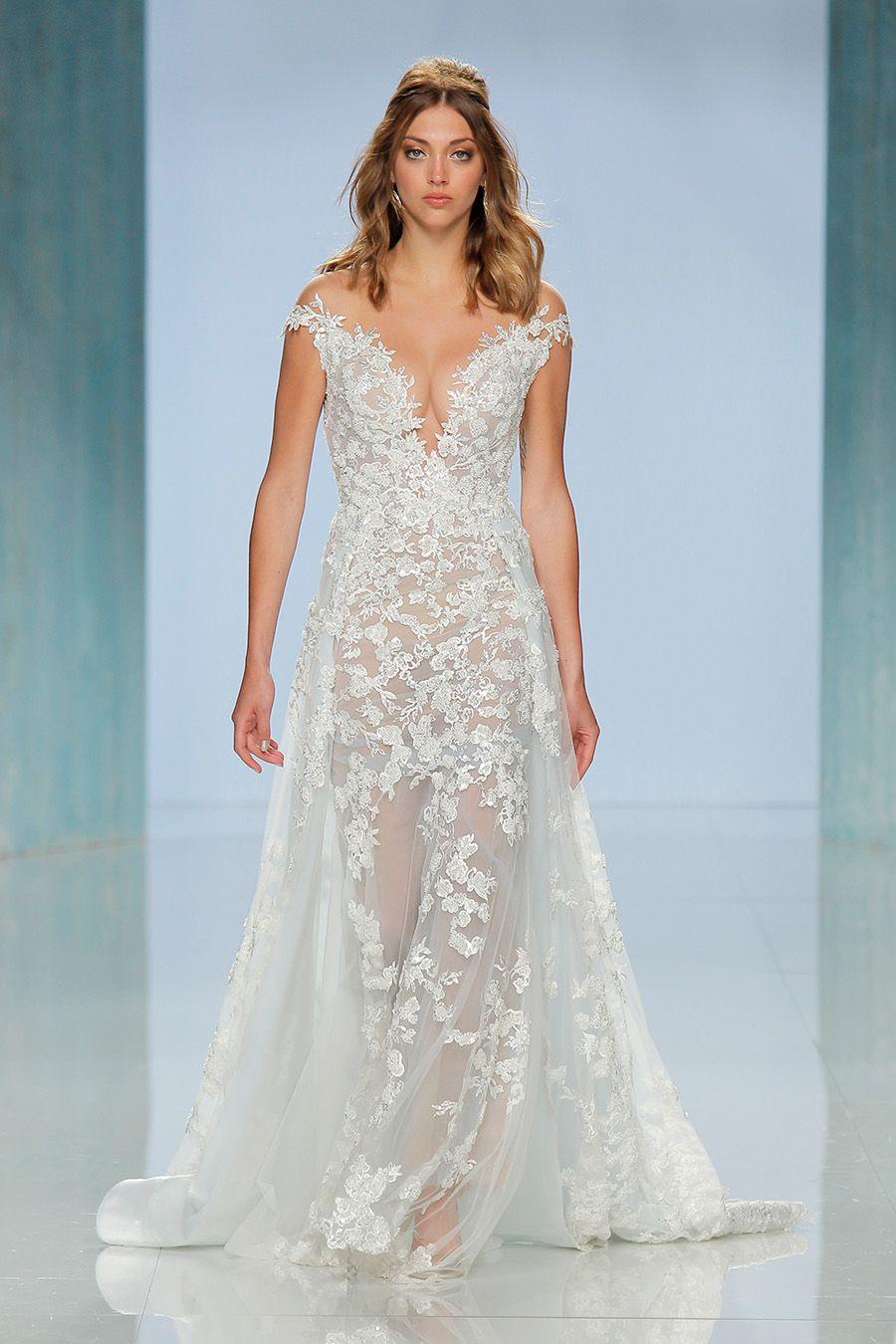 Sheer wedding dress  Barcelona Bridal Fashion Week  Galia Lahav  Wedding Gowns and