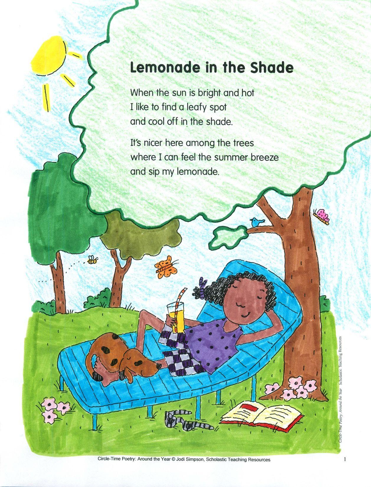 Lemonade In The Shade Poem And Activities Rf K 2 Rf K 3