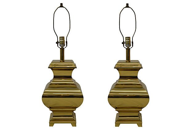 Chinoiserie Polished Brass Lamps, Pair on OneKingsLane.com