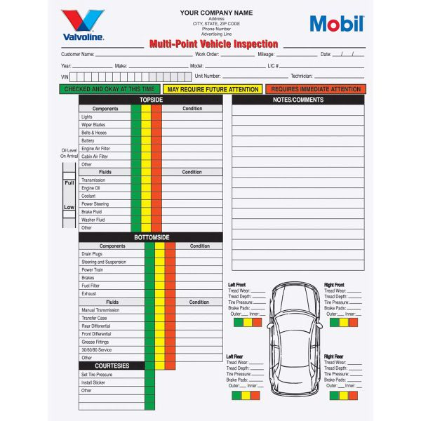 2 Part Multi-Point Vehicle Inspection Forms Carbonless - vehicle inspection form