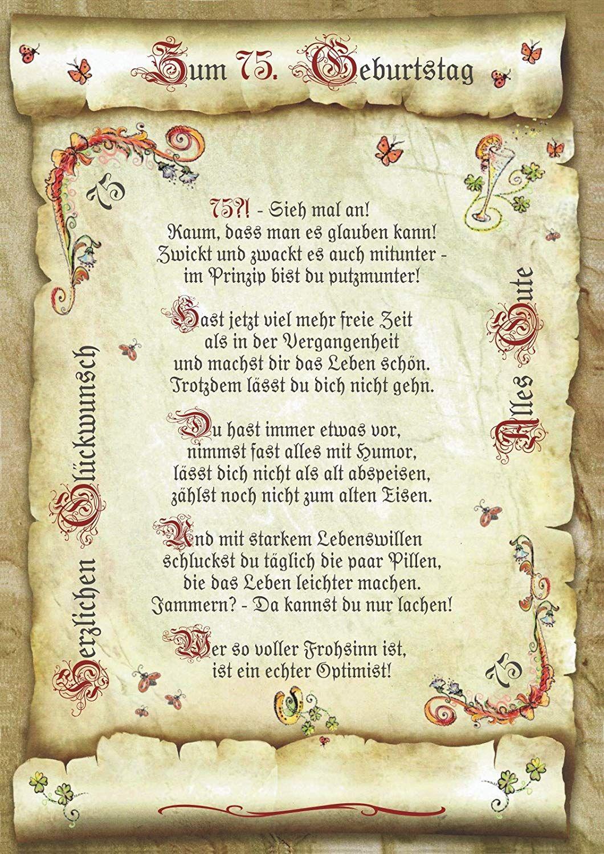 Geschenk 75 Geburtstag Gedicht Präsent Jubiläum Amazonde
