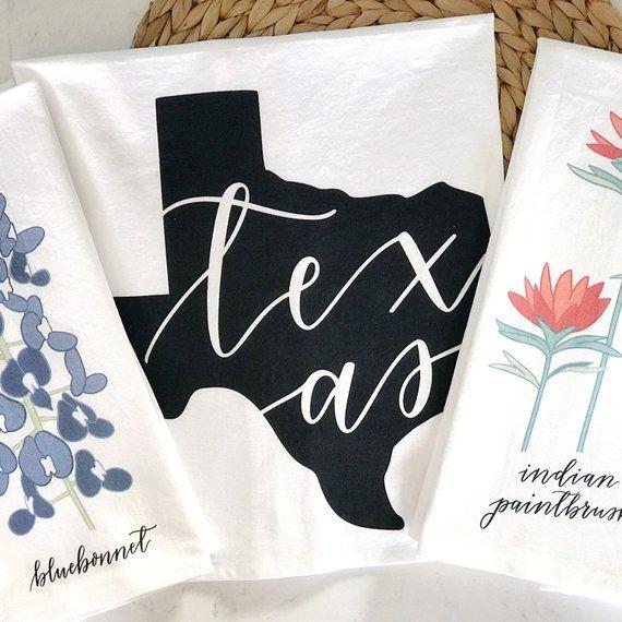 Texas Themed Dish Towel Set Set Of 3 100 Cotton Kitchen Towels