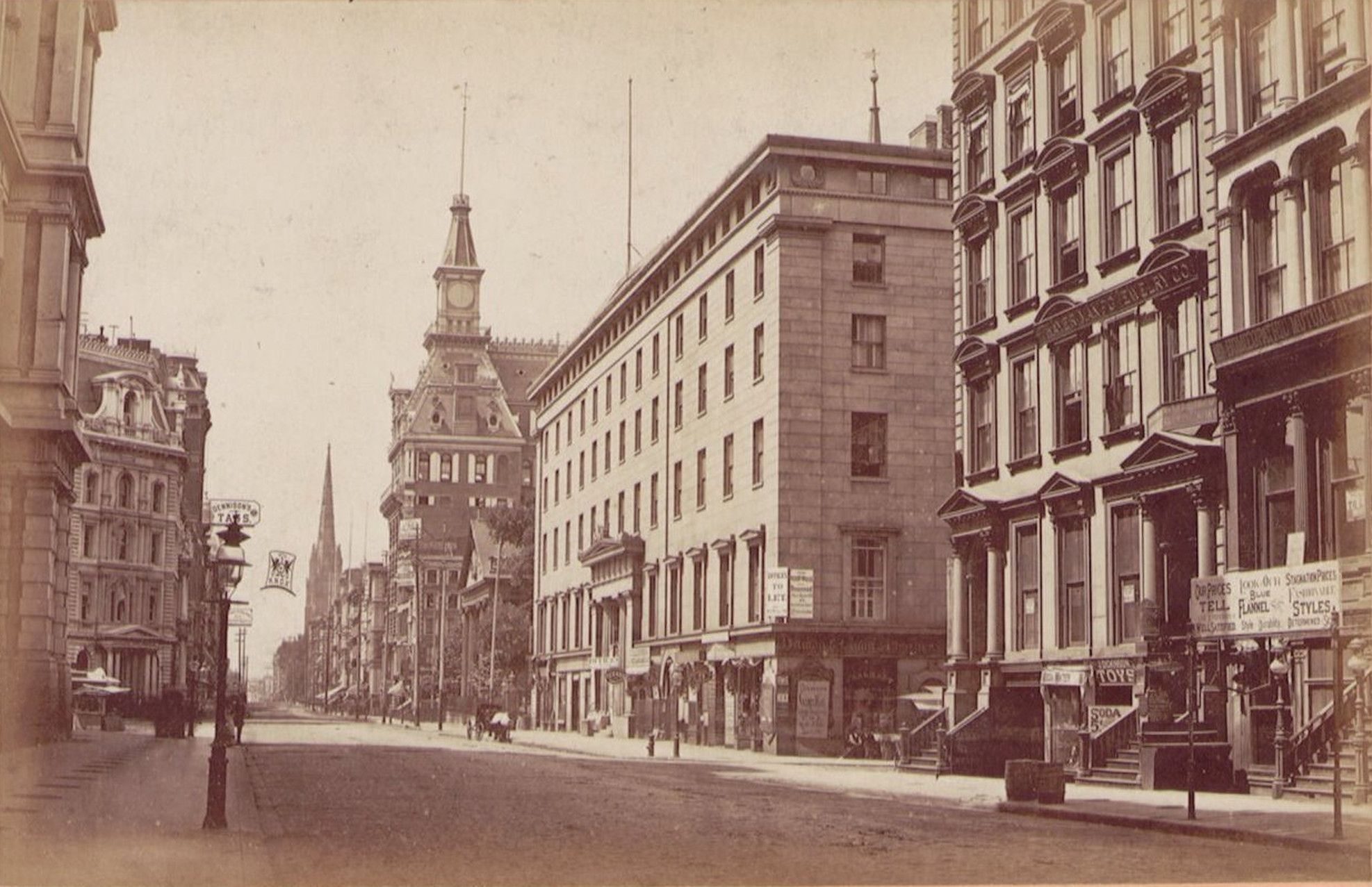 Broadway looking South Astor House 1875 publisher Thorne