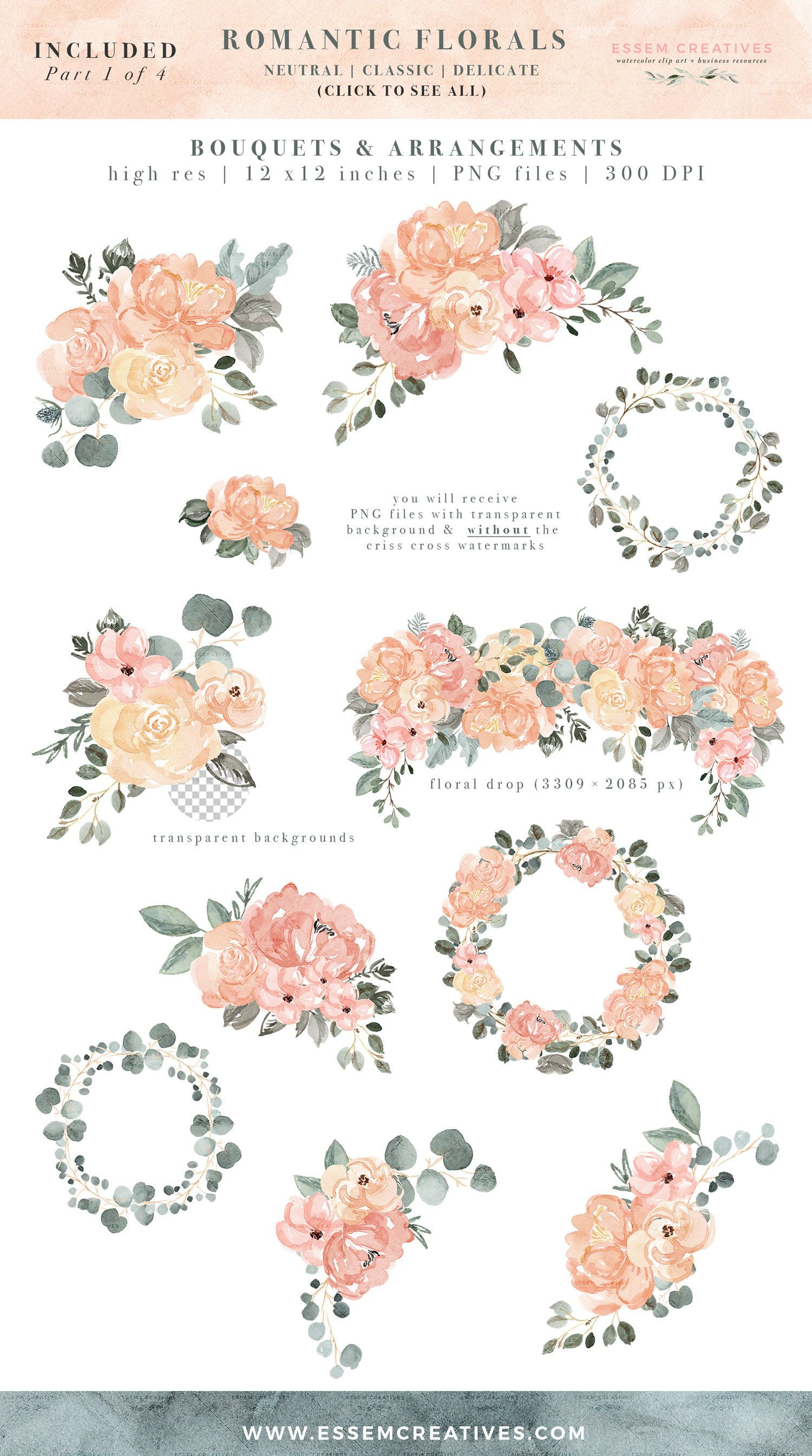 Border Pink Clip And Cream Vintage Rose Art