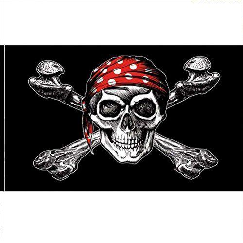 AZ FLAG Bandera Pirata con Bandana Rojo 180x120cm Gran Bandera con Calavera 120 x 180 cm