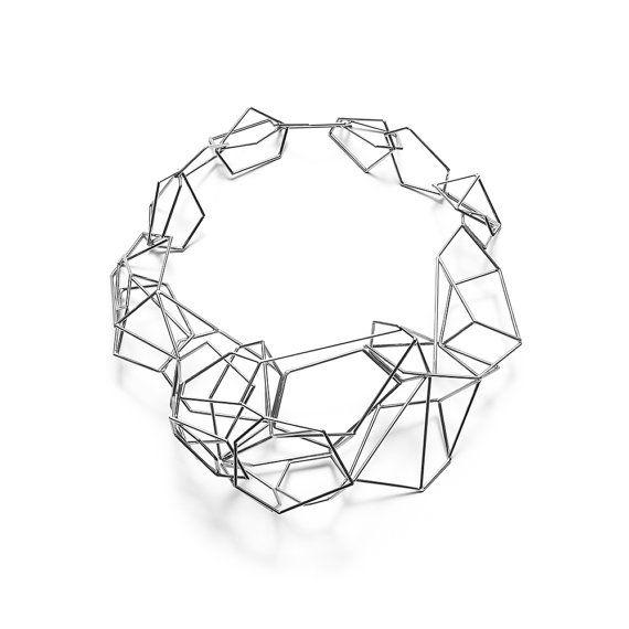 geometric jewelry /// structure neckpiece no. 13, stainless steel
