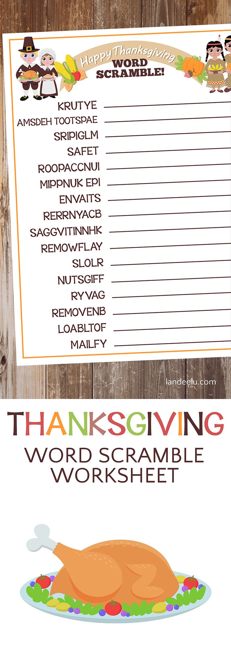 Thanksgiving Worksheet Word Scramble – Fun Thanksgiving Worksheets