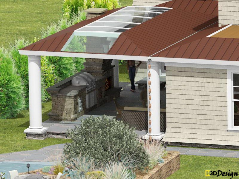 Outdoor Kitchen Designs With Roofs  Roof Over Stone Patio Gorgeous Patio Kitchen Designs Design Ideas