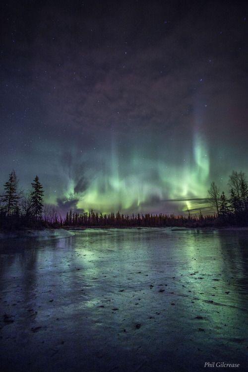 Aurora Borealis over a frozen Alaskan Lake by Phil Gilcrease...