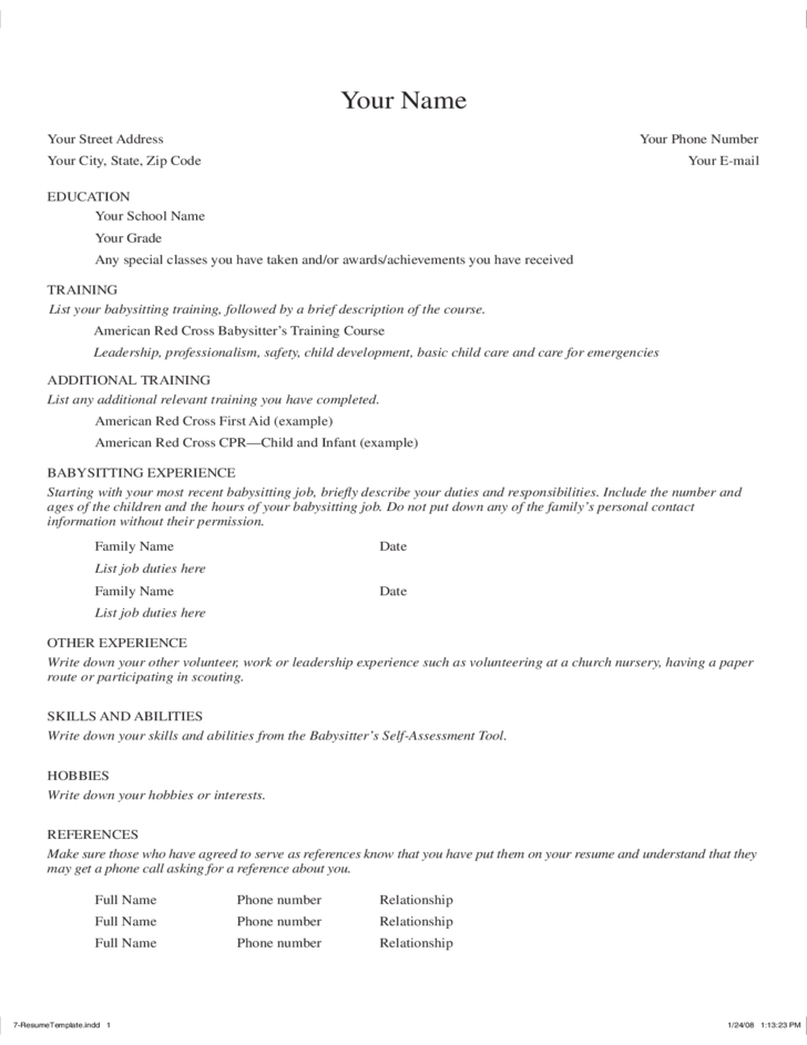 Attractive American Cross Babysitting Resume Template