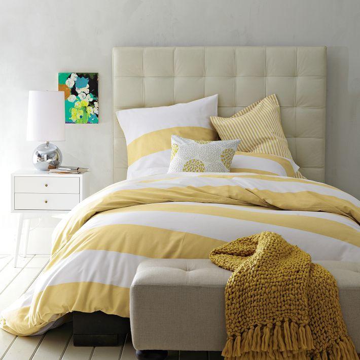 West Elm Stripes Love Yellow Bedding Modern Bedroom Design