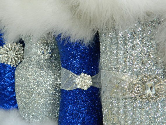I Want This Royal Blue And Glitter Wedding Centerpiecesglitter Vasessilver