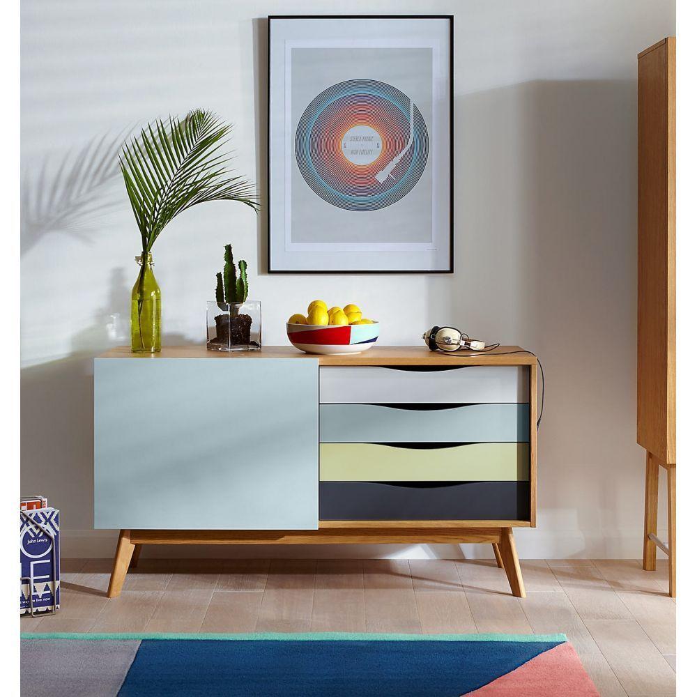 Buffet Design 4 Tiroirs 3 Niches Avon Couleur Bleu Pastel  # Buffet Salon Avec Niche