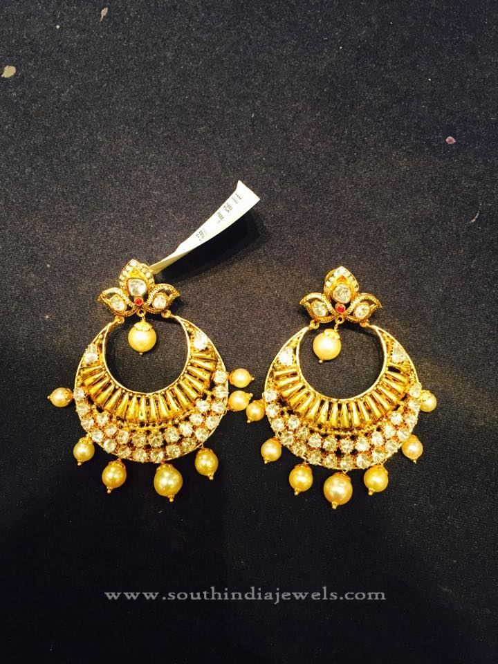 22k Simple Gold Chandbali Designs Light Weight Chanbdali Earring