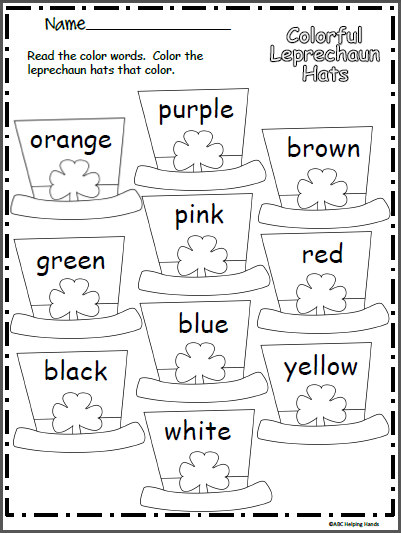 Colorful Leprechaun Hat Worksheet | School | Pinterest | Preescolar ...