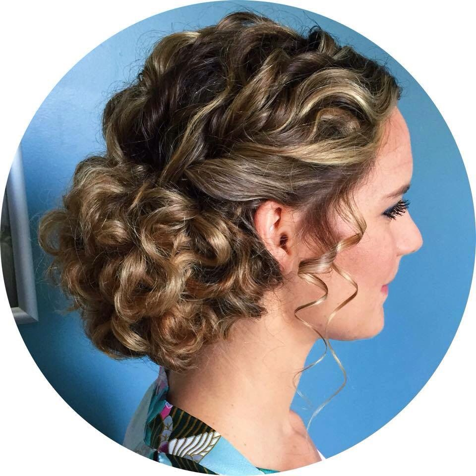 Love this naturally curly updo for a bride or prom https ...