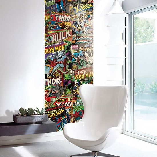Lé de papier peint unique Marvel 35,00€ #Marvel #home #design | M ...