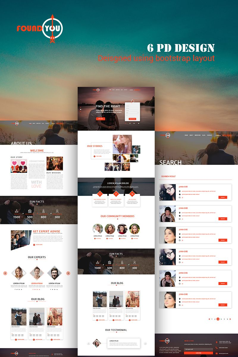 Dating template PSD