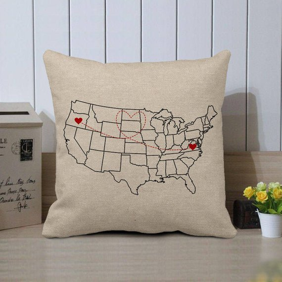 Personalized US Map Pillow Case,Custom World Map Cushion Cover,Custom State to State,Christmas Long Distance Gift To Friends,Custom Pillow