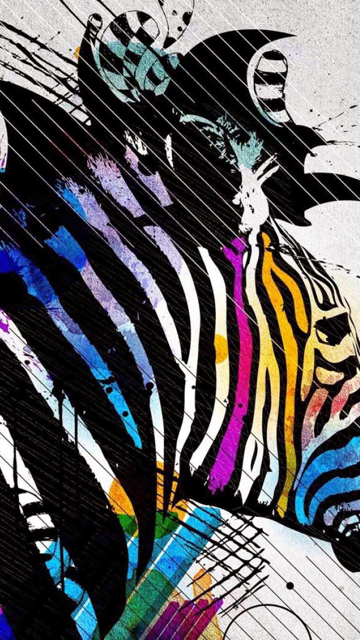 Zebra vibrant color art | Zebras | Pinterest