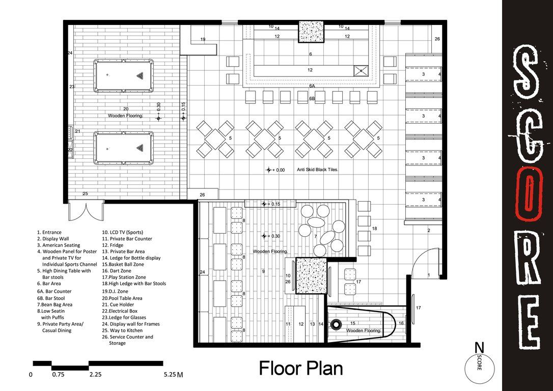 Sports bar and grill floor plans project design