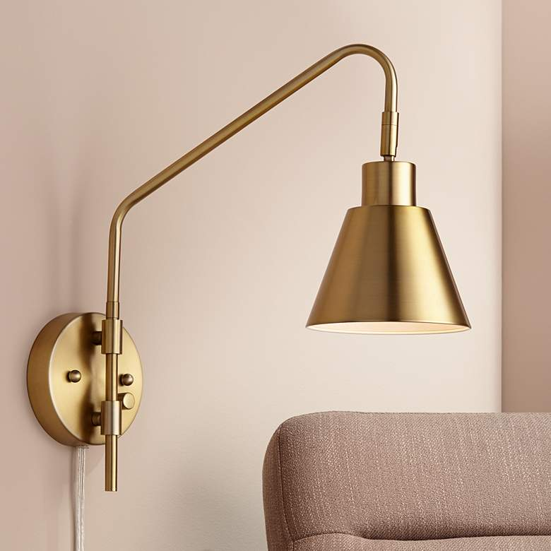 Marybel Antique Brass Downlight Plug In, Swing Arm Wall Lamp Uk