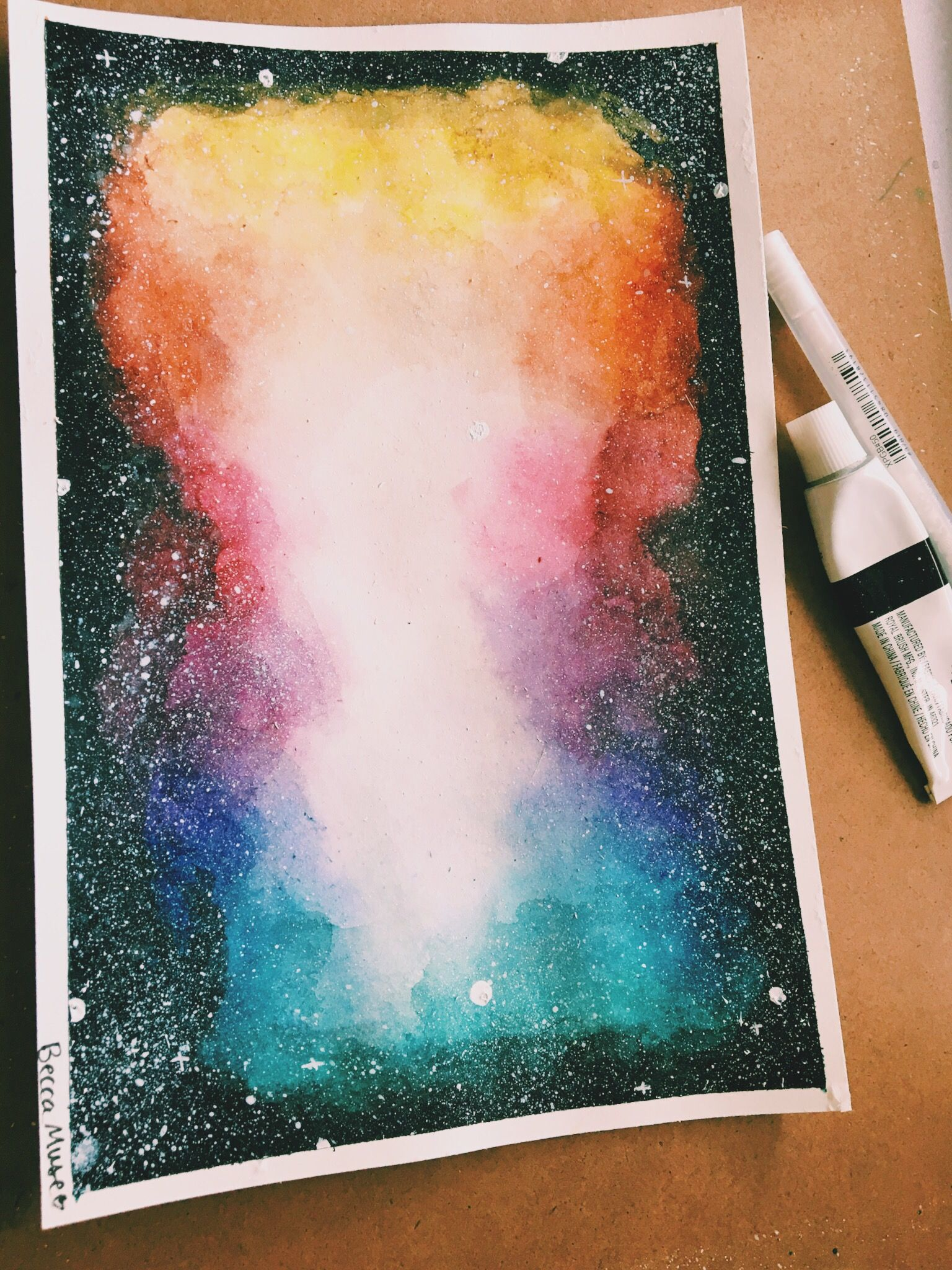 Galaxy Rainbow Watercolor Ink Color Drawing Painting Galaxy