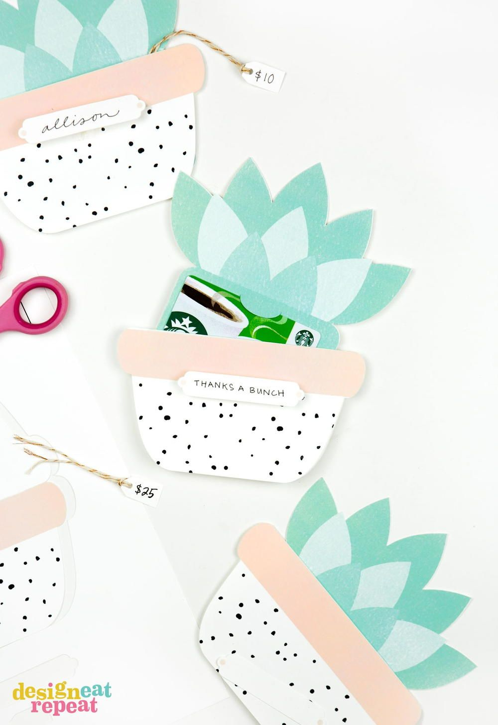 Succulent Printable Gift Card Holders If You Re Planning On