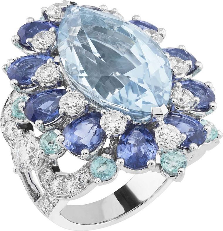 Van Cleef & Arpels white gold Peau d'Âne collection aquamarine ring surrounded by diamonds, sapphires and tourmalines.