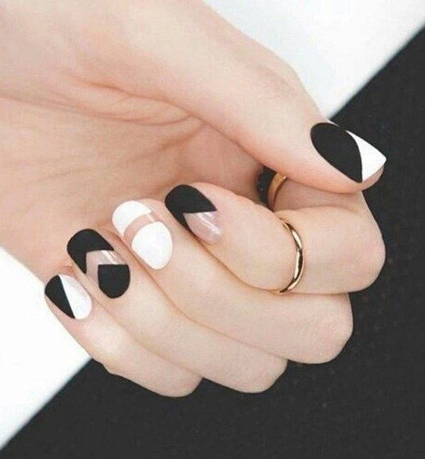 55 Black and White Nail Art Designs | Negative space, Matte black ...