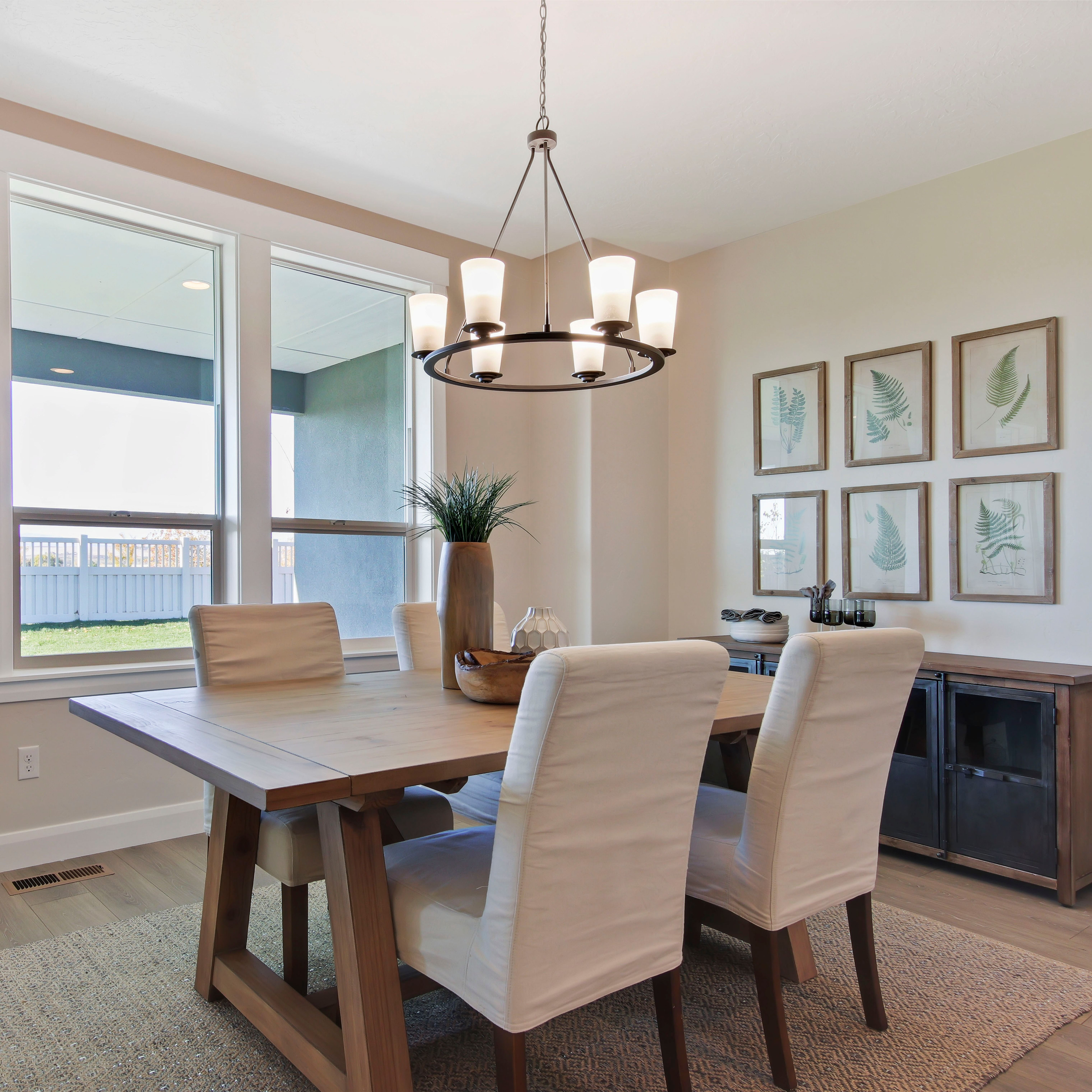 Vintage Modern Chandelier Featured In Custom Home Dining Room Design With Natural Decor Elements Dining Room Design Dining Room Spaces Modern Chandelier