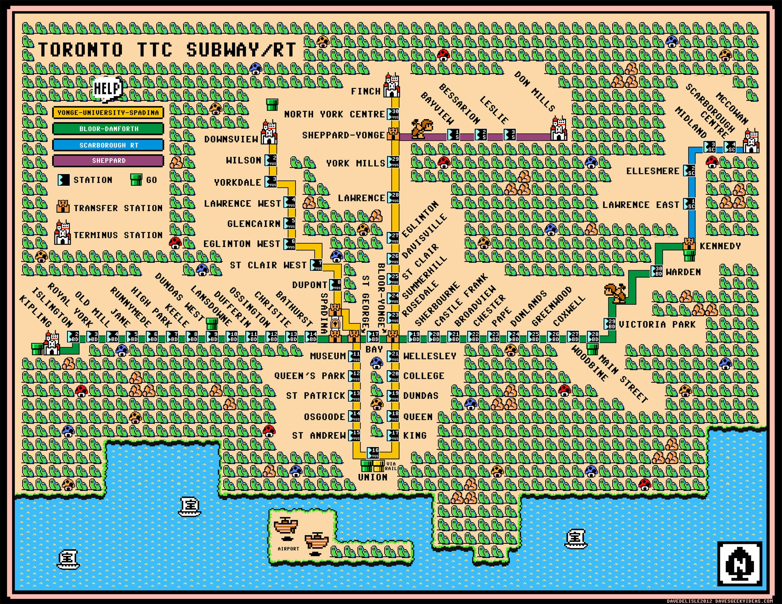 Toronto ttc subway rt map mario 3 wallpaper large 2012 unreal maps dave delisle of daves geeky ideas has got you covered heres the toronto ttc subwayrt map in the style of super mario gumiabroncs Image collections