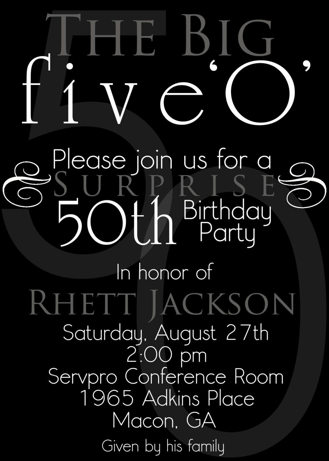wording style ? | 2013 Parties !!!!! | Pinterest | 50 birthday ...