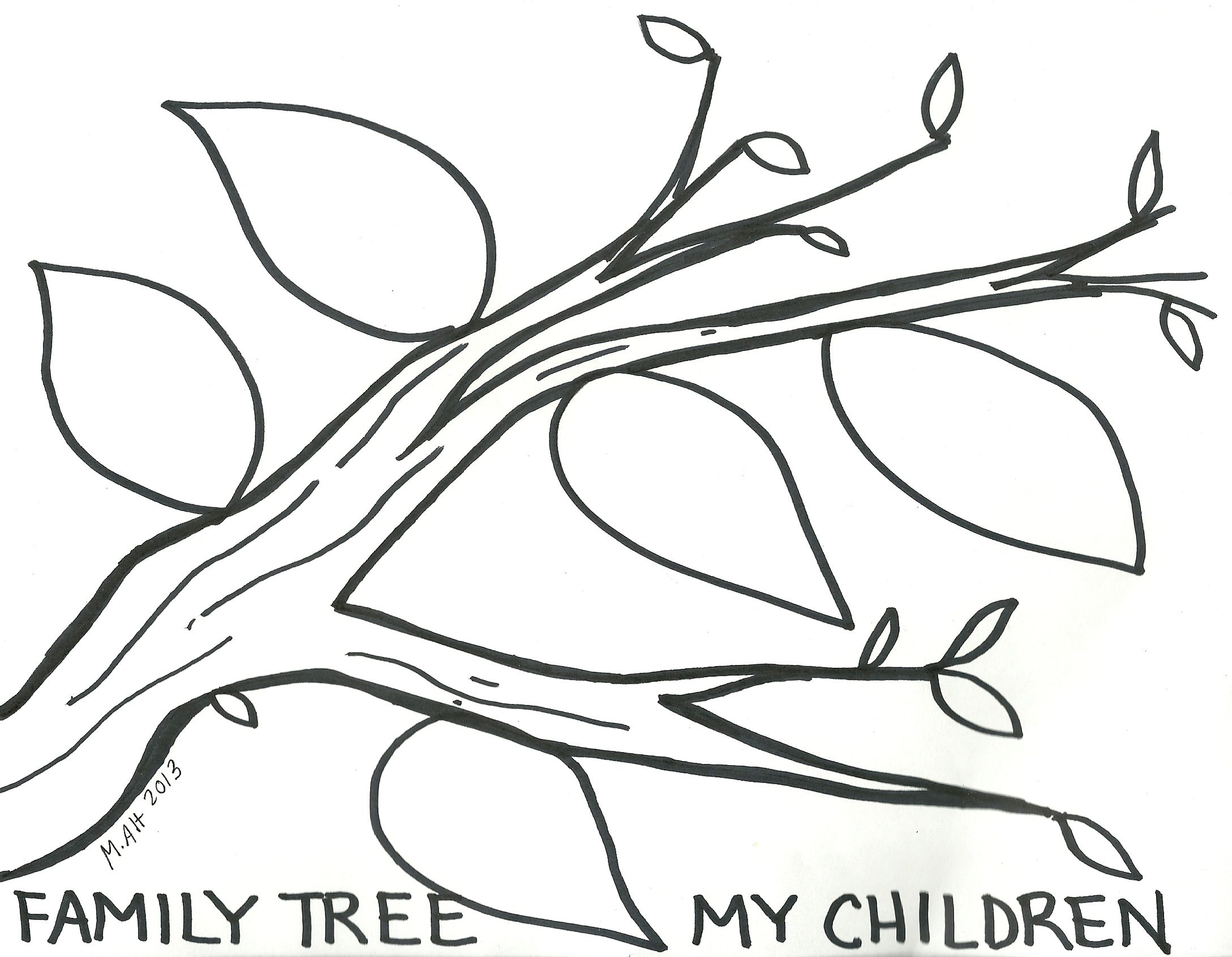 I designed this family tree coloring page for the